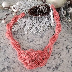 Coral Beaded Knot Necklace